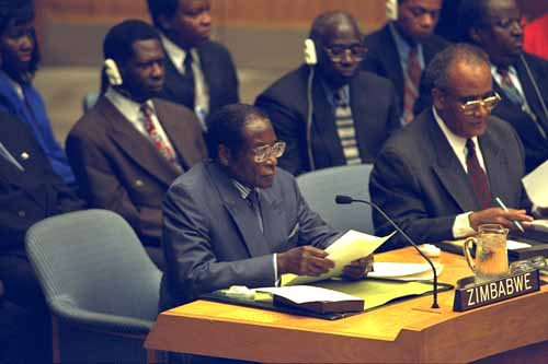 President Robert Mugabe of Zimbabwe addresses the Security Council